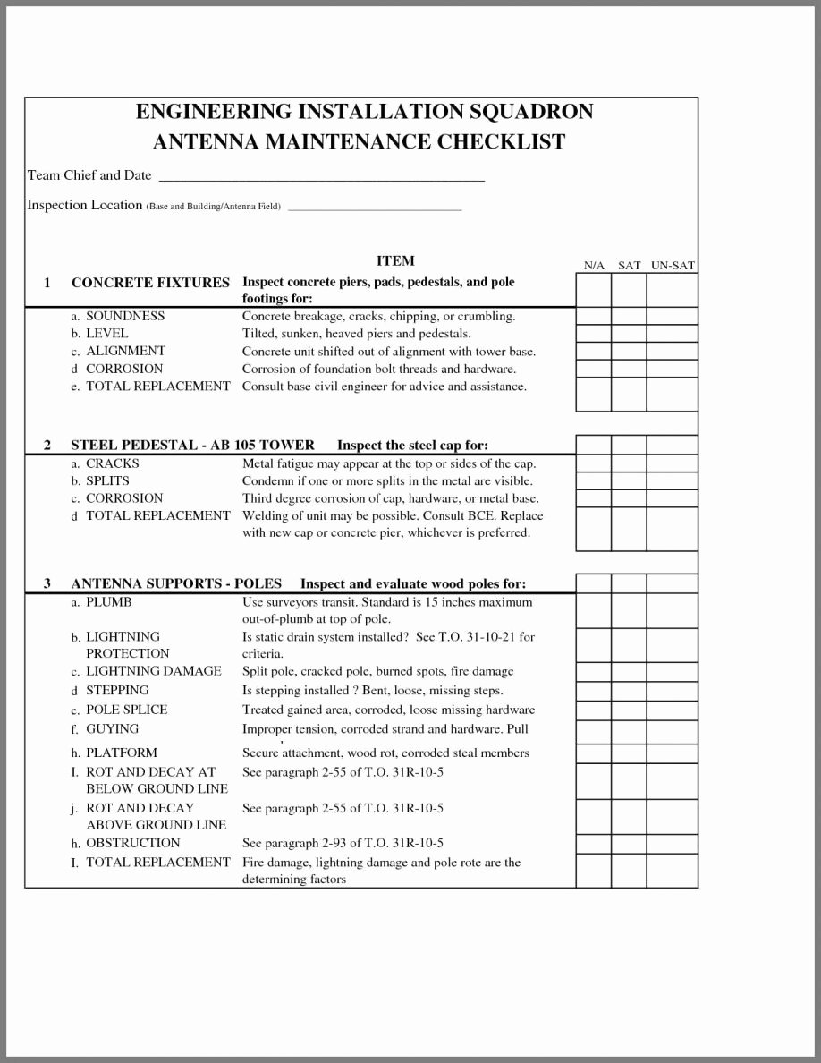Building Maintenance Schedule Template New Building Maintenance Checklist format Procedures