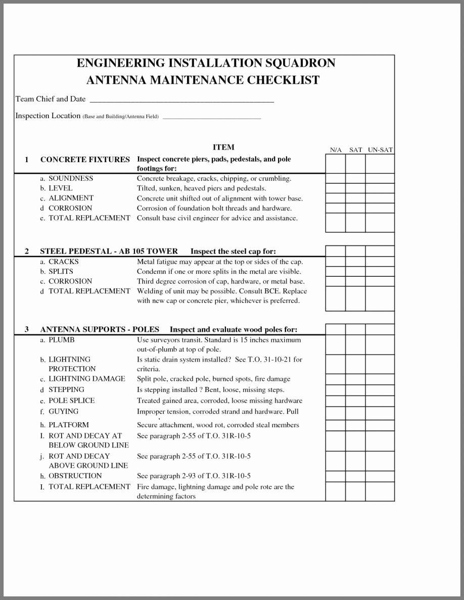 Building Maintenance Schedule Template New Building Maintenance Checklist format Procedures