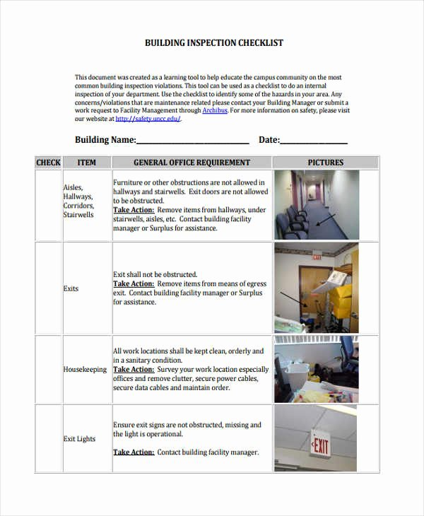 Building Maintenance Schedule Template Unique 8 Building Checklist Templates Pdf Word format