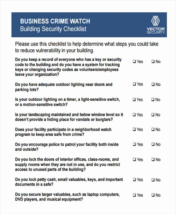 Building Security Checklist Template Beautiful 8 Building Checklist Templates Pdf Word format