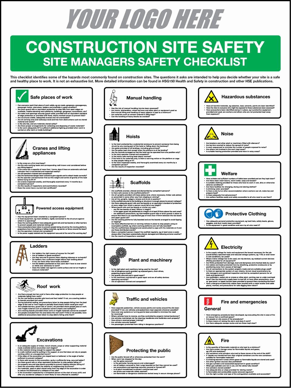 Building Security Checklist Template Beautiful First Call Signs Construction Safety Checklist