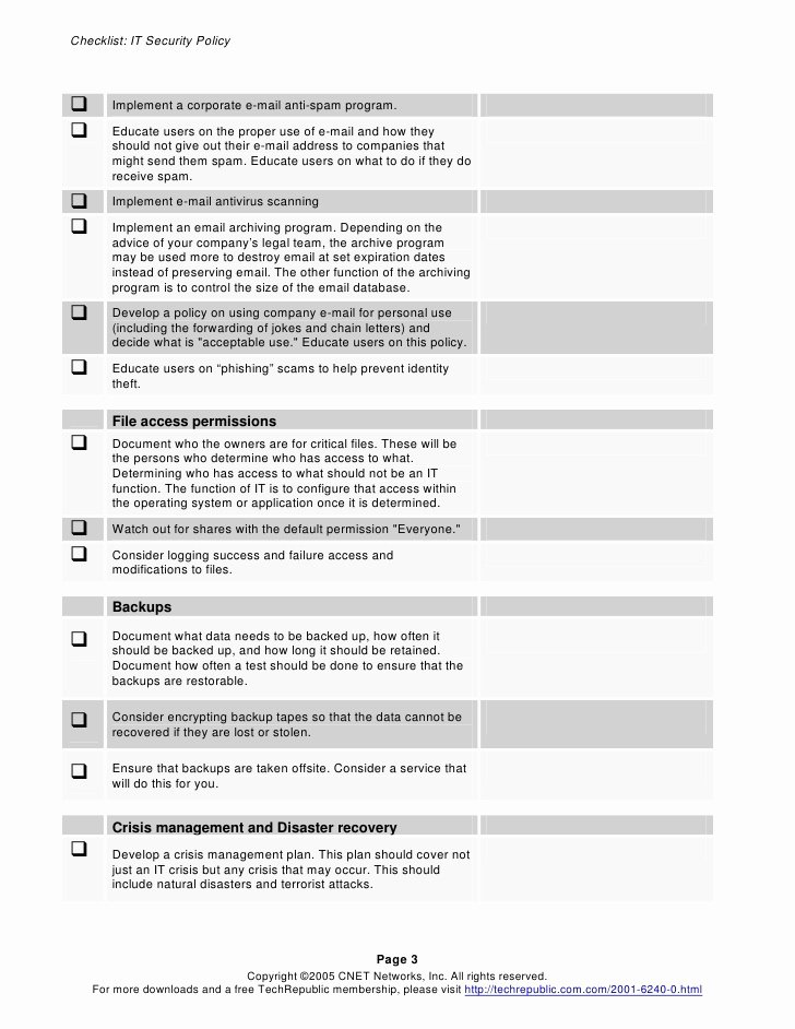 Building Security Checklist Template Beautiful Security Policy Checklist