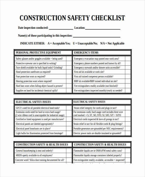 Building Security Checklist Template New 14 Safety Checklist Examples & Samples Pdf Word