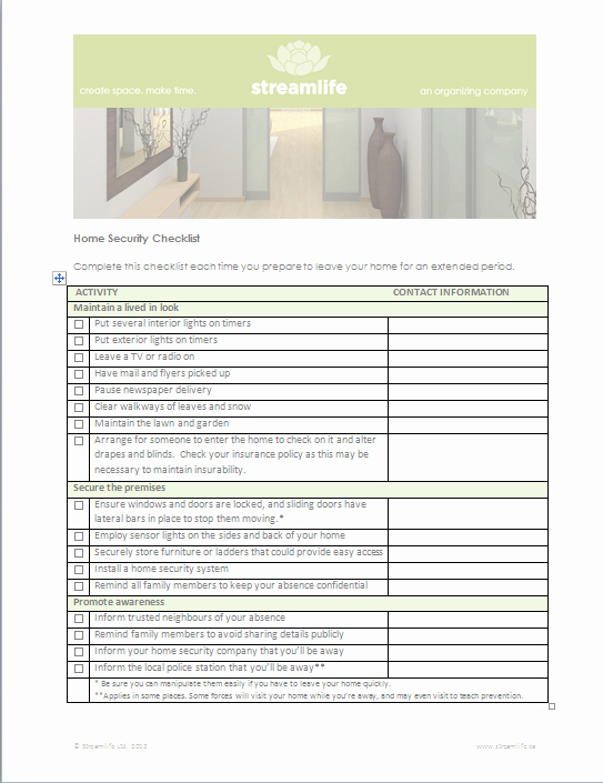 Building Security Checklist Template Unique Home Security Checklist Keep Thieves at Bay while You Re
