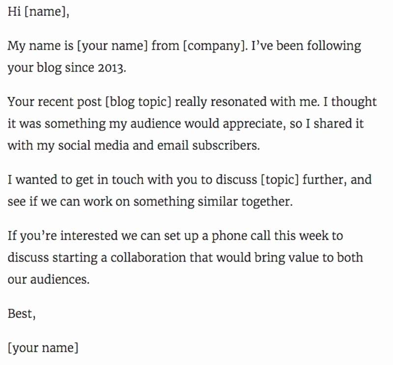 Business Collaboration Letter Sample New 11 Outstanding Influencer Outreach Email Templates