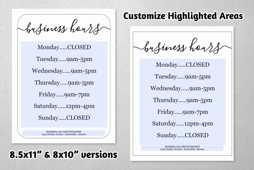 Business Hours Sign Template Awesome Business Hours Sign Printable Template Hours Of