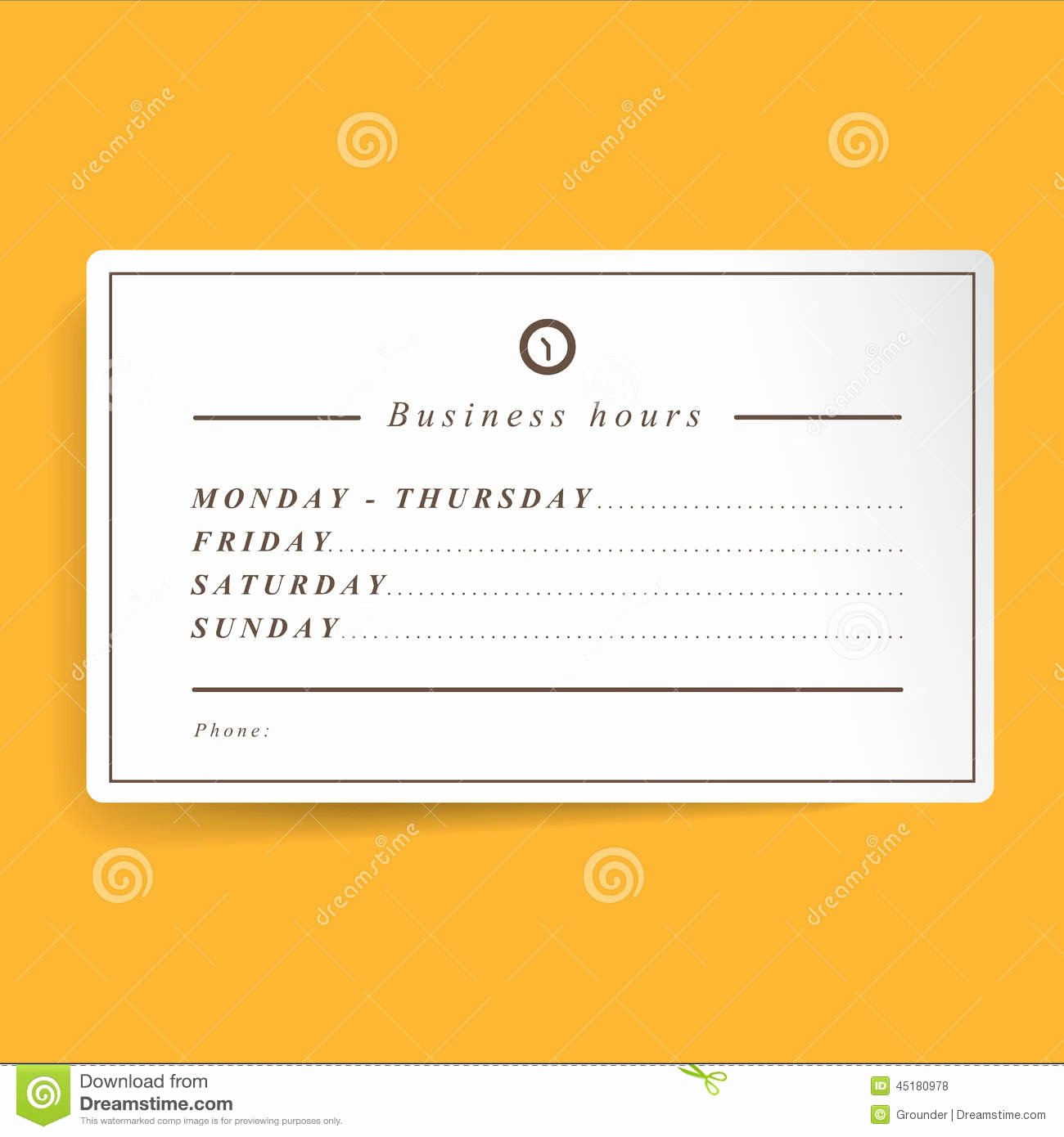 Business Hours Sign Template Awesome Business Hours Template Stock Illustration Image