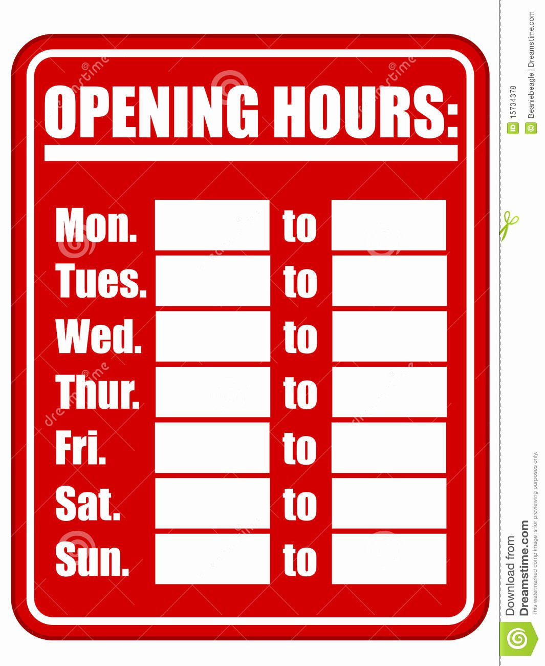 Business Hours Sign Template Awesome Opening Hours Sign Eps Stock Vector Illustration Of