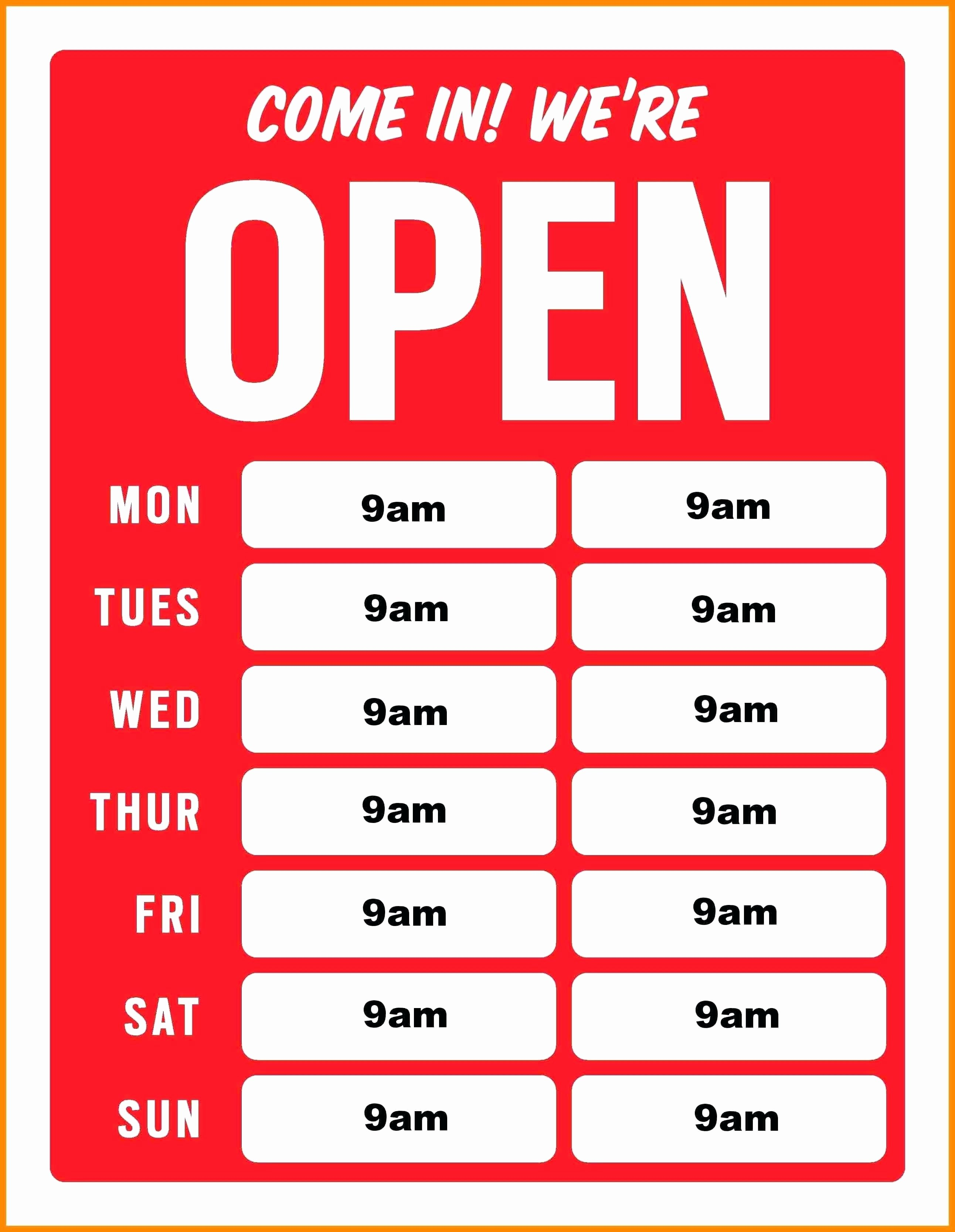 Business Hours Sign Template Awesome Printable Business Hours Sign Template Best Printable
