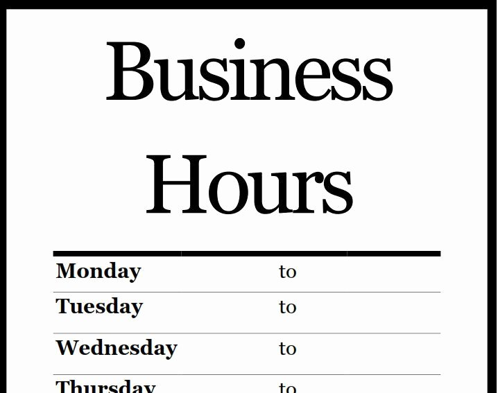 Business Hours Sign Template Awesome Printable Pdf Business Hours Sign Signs