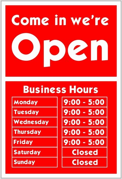 Business Hours Sign Template Elegant E In We Re Open Free Vector In Open Office Drawing Svg