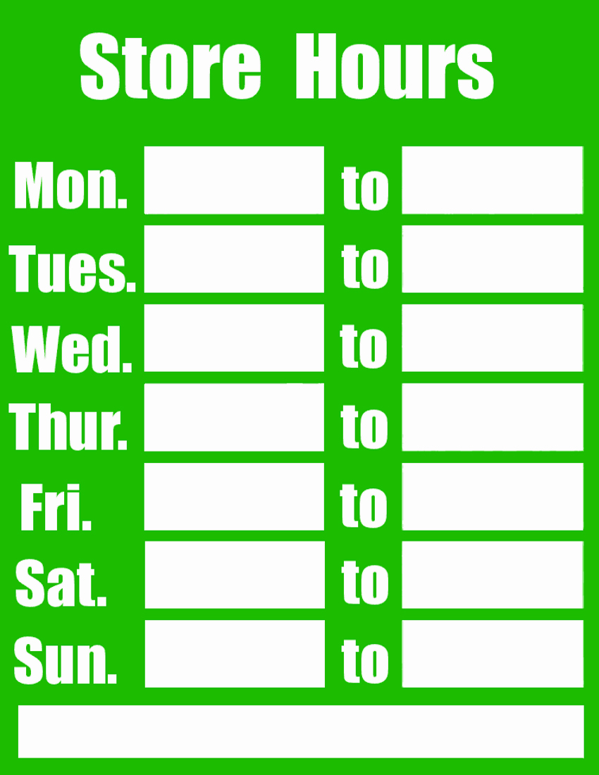 Business Hours Sign Template Elegant New Hours In June Sea Change Cannabis