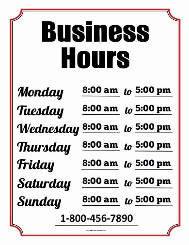 Business Hours Sign Template Free Beautiful Free Printable Business Hours Sign