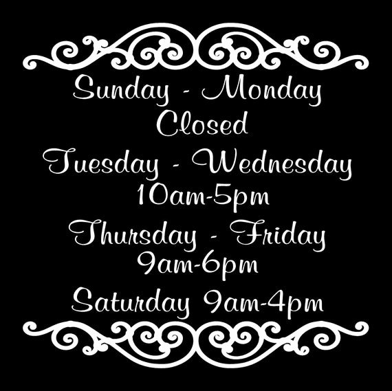 Business Hours Sign Template Free Best Of Store Hours Vinyl Decal Business Decal Custom Store Hours Sign