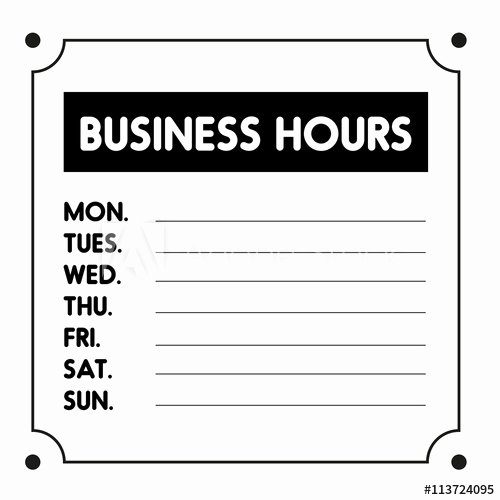 Business Hours Sign Template Free Elegant Business Hours Sign Vector Template Buy This Stock