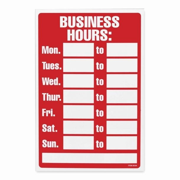 Business Hours Sign Template Free Fresh Printable Fice Hours Sign