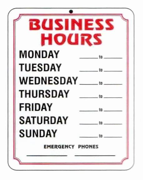 Business Hours Sign Template Free New Business Hours Template