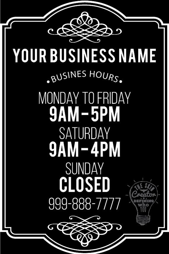 Business Hours Sign Template Free New Custom Business Store Hours Vinyl Window Decal 8 by