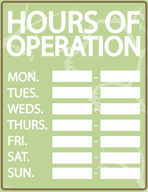 Business Hours Sign Template Fresh Hours Of Operation Sign Template