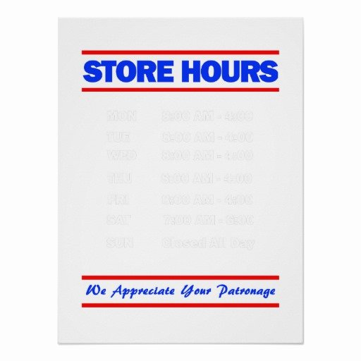 Business Hours Sign Template Fresh Store Hours Sign Print