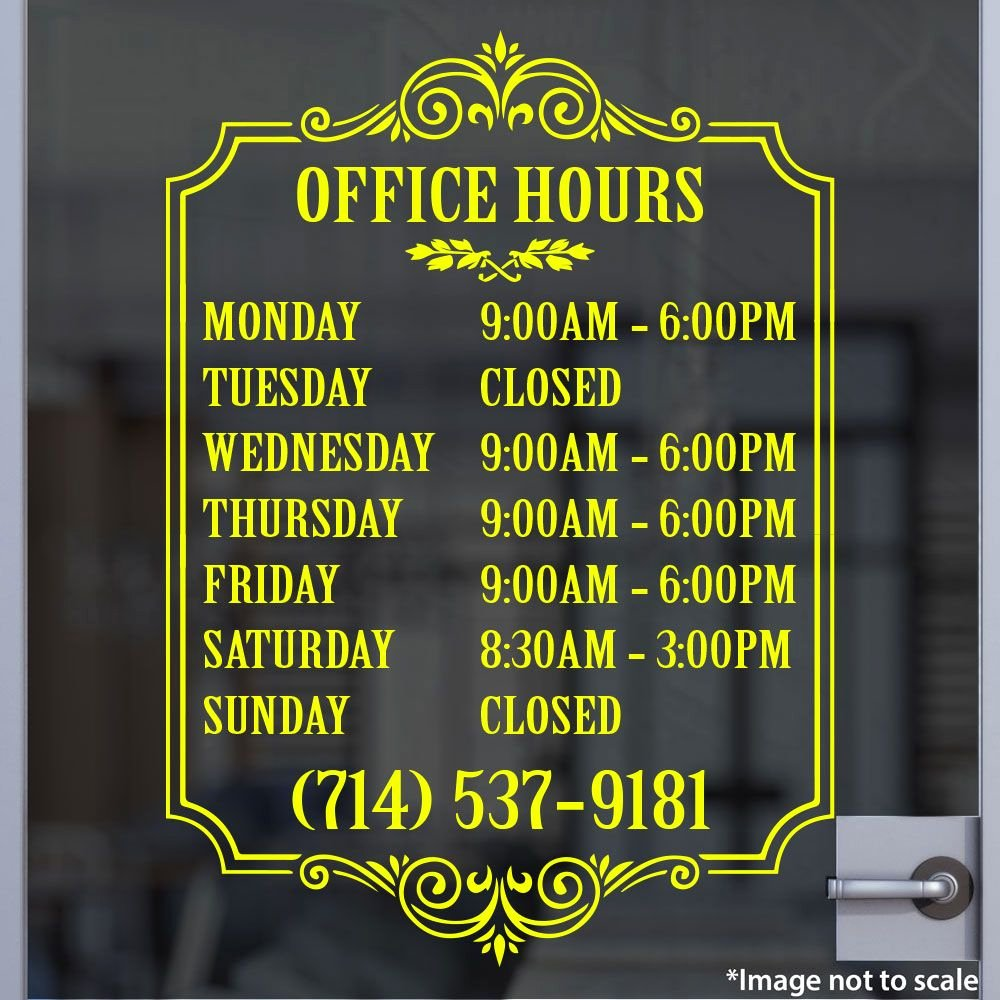 Business Hours Sign Template Inspirational Custom Yellow Business Hour Sign