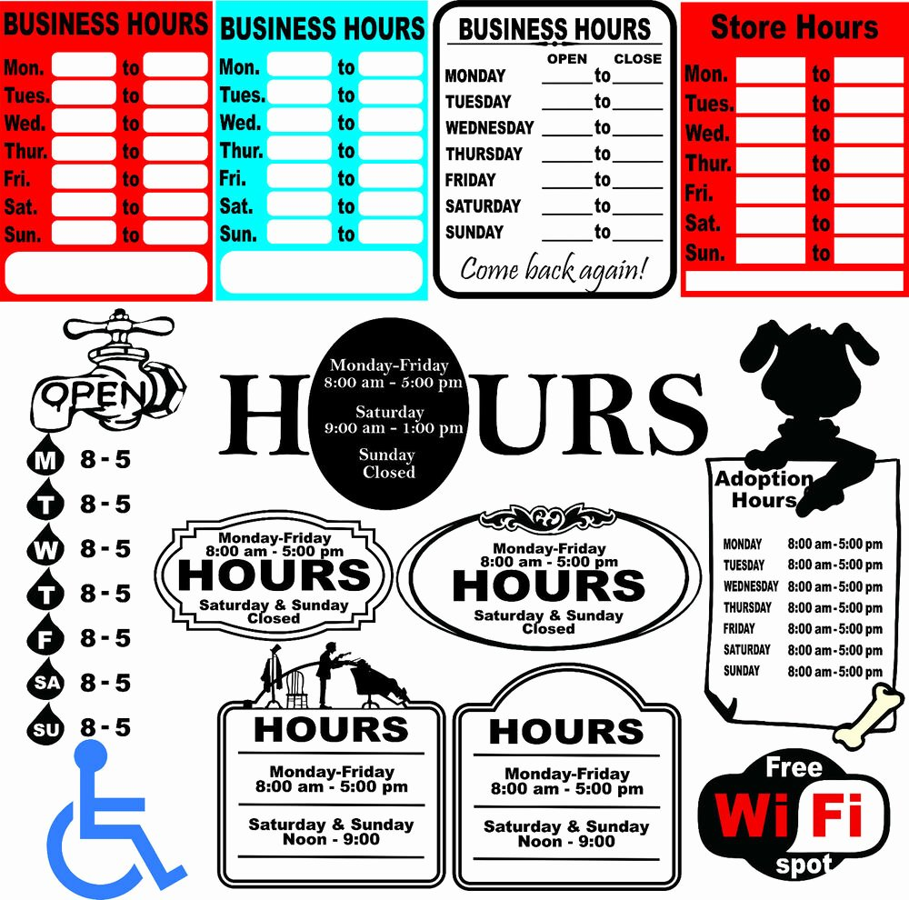 Business Hours Sign Template New 52 Business Hours Sign Templates Vector Clipart for Vinyl