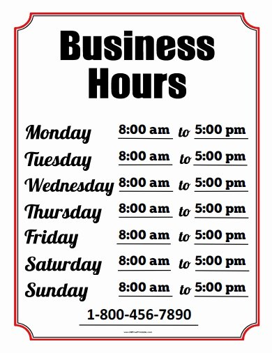 Business Hours Sign Template New Business Hours Sign Free Printable Allfreeprintable