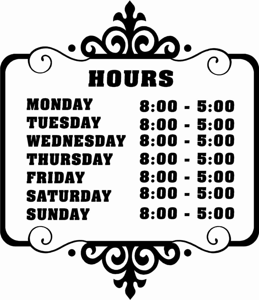Business Hours Sign Template New Custom Store Business Hours Sticker Vinyl Decal Sign