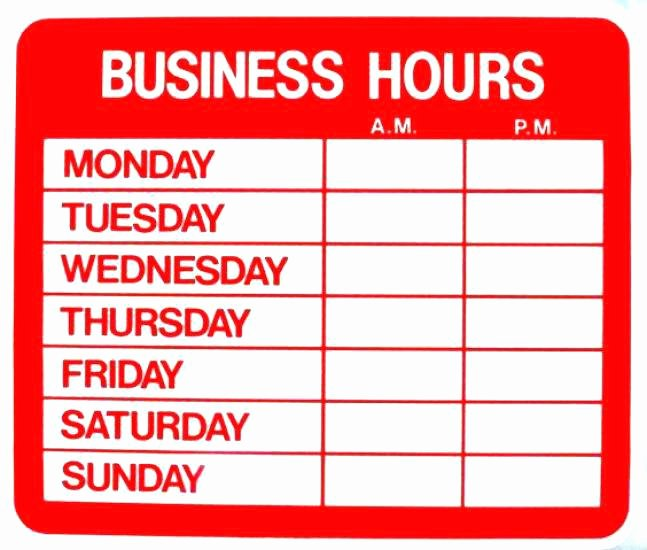 Business Hours Sign Template New Printable Fice Hours Sign