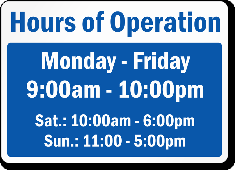 Business Hours Sign Template Unique Business Hours Signs