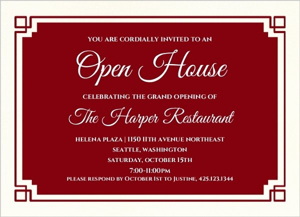 Business Open House Invitation Wording Awesome Red Geometric Border Corporate Open House Invitation