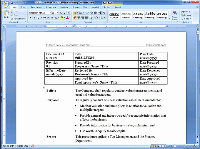 Business Process Template Word Unique Policy and Procedure Template