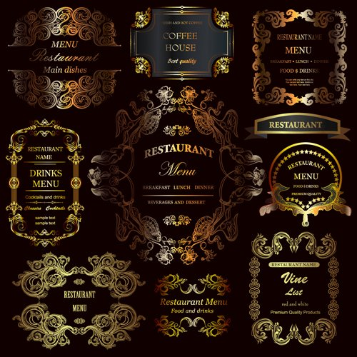 Business source Label Templates Beautiful Golden ornament Labels with Vintage Frames Vector 03 Free