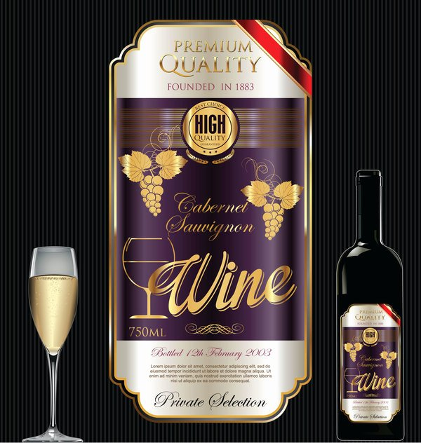 Business source Label Templates Beautiful Luxury Golden Wine Label Design Vector 02 Free