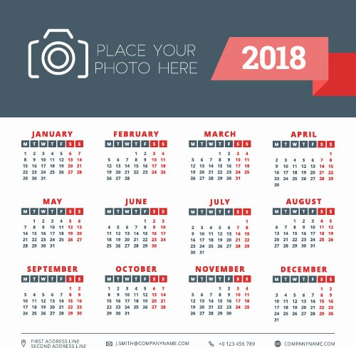 Business source Label Templates Best Of 2018 Business Calendar Template Vectors 02 Vector