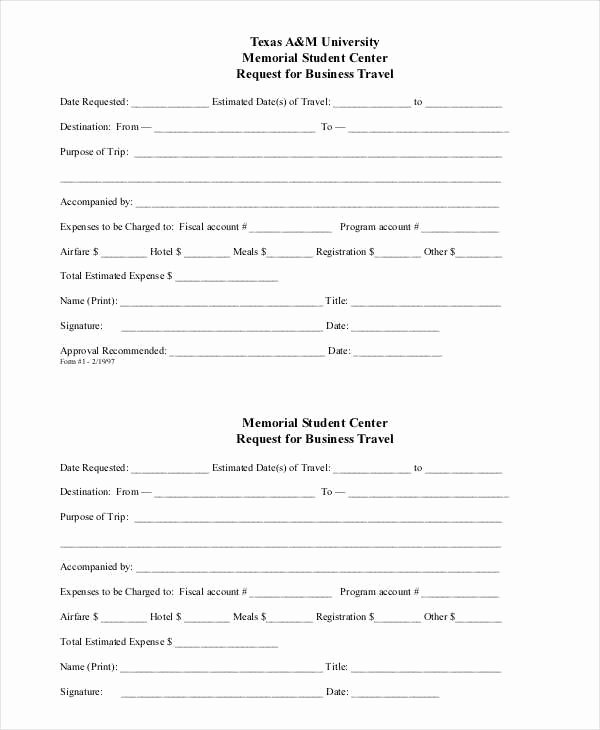 Business Travel Request form Beautiful Business Request Sample forms 9 Free Documents In Word Pdf