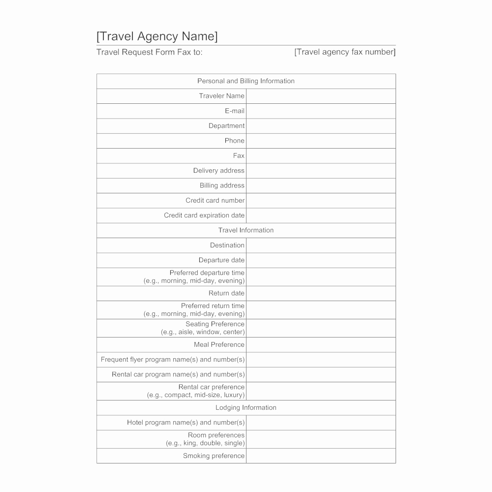 Business Travel Request form Beautiful Travel Agency form