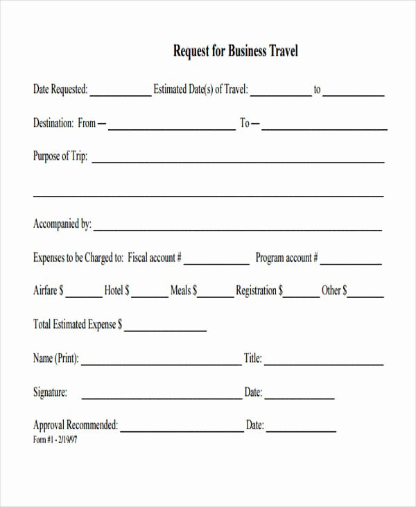 Business Travel Request form Beautiful Travel Request form Template