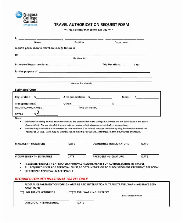 Business Travel Request form Best Of Travel Request form Example