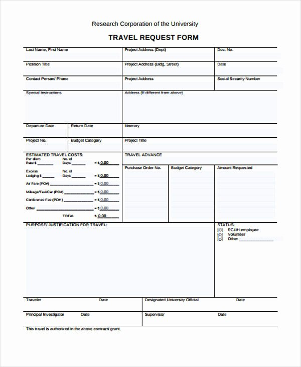 Business Travel Request form Fresh Travel Request form Template