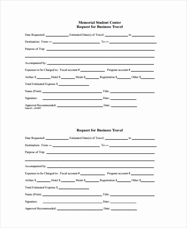 Business Travel Request form Inspirational Sample Travel Request form 9 Free Documents Download In