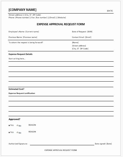 Business Travel Request form Template Inspirational Expense Approval Request forms Ms Word