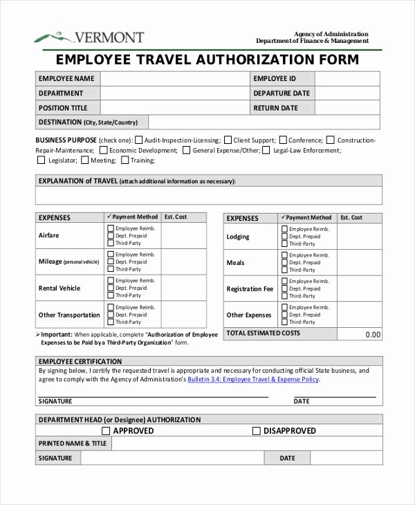 Business Travel Request form Template Inspirational Travel Authorization form 9 Free Documents In Pdf