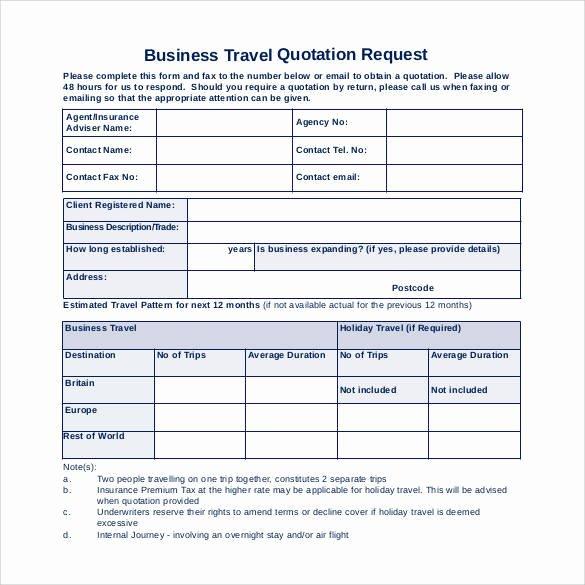 Business Travel Request form Unique 52 Quotation Templates Doc Pdf Excel