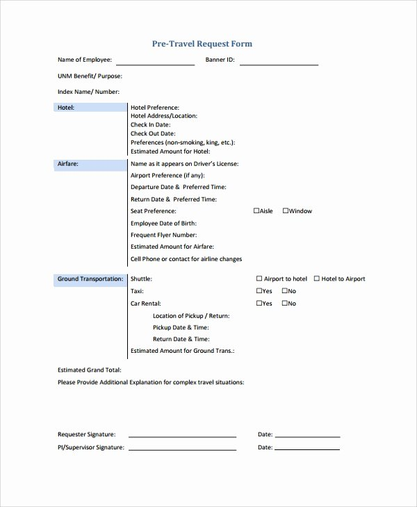 Business Travel Request form Unique Sample Travel Request form 9 Free Documents Download In