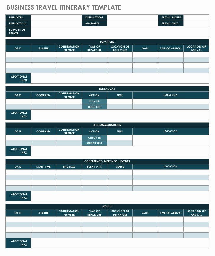 Business Trip Itinerary Template Awesome Free Itinerary Templates