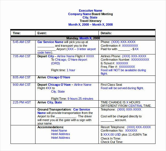 Business Trip Itinerary Template Awesome Travel Itinerary Template