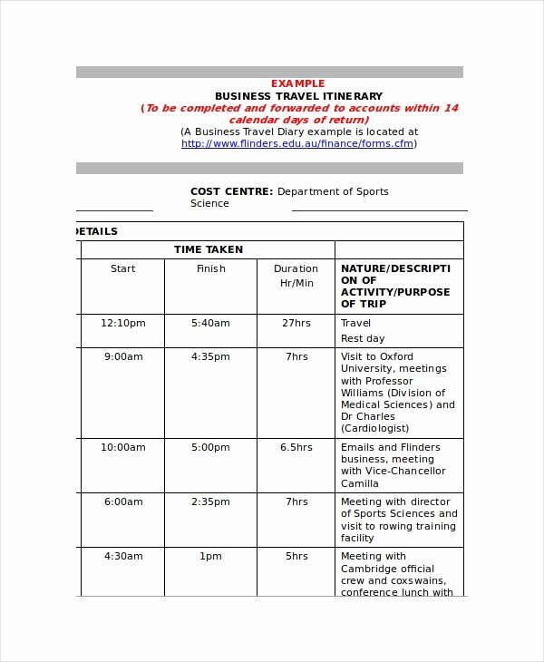 Business Trip Itinerary Template Beautiful 9 Itinerary Templates Free Sample Example format