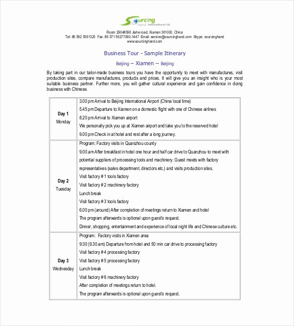 Business Trip Itinerary Template Best Of Itinerary Template – 15 Free Word Excel Pdf Documents