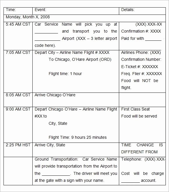 Business Trip Itinerary Template Lovely Sample Holiday Itinerary Template 7 Documents Download